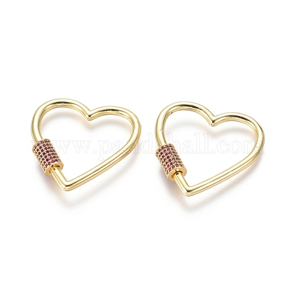 Brass Micro Pave Cubic Zirconia Screw Carabiner Lock Charms ZIRC-I031-11G-02-1