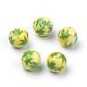 Opaque Printed Acrylic Beads, Round with Cannabis/Pot Leaf/Hemp Leaf Pattern, YellowGreen, 10x9.5mm, Hole: 2mm
