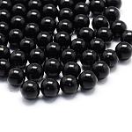 Сплошной цвет акриловой шар бисером, плавающей медальон очарование бисером, без отверстия , круглые, чёрные, 4 мм; около 12000 шт / 500 г