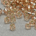 FGB® 12/0 Transparent Glass Seed Beads, Grade A, Silver Lined Round Hole, Round, PeachPuff, 2x1.5mm, Hole: 0.3mm; 30000pcs/bag