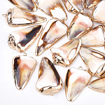 Electroplate Sea Shell Pendants, with Brass Findings, Triangle, Golden, Seashell Color, 30~40x15~25x5~12mm, Hole: 1~2mm