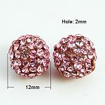 Resin Rhinestone Beads, Grade A, Round, Rose, 12mm, Hole: 2mm