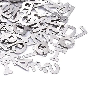 304 acciaio inossidabile fascino della lettera, lettere miste casuali, 11x5.5~12x0.5mm, Foro: 1 mm