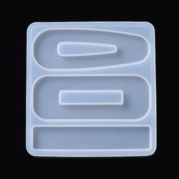 Hair Clip Silicone Molds, Resin Casting Molds, For UV Resin, Epoxy Resin Jewelry Making, Teardrop & Rectangle & Bar, Clear, 75x70.5x3.5mm