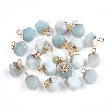 Electroplate Natural Amazonite Charms, with Iron Findings, Faceted, Golden, 11~12x8x8mm, Hole: 1.5mm