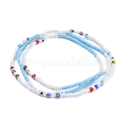 Glass Seed Beads Chain BeltsNJEW-C00011-1
