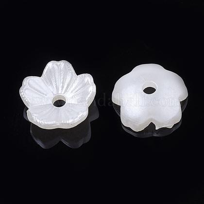 5-pétalo tapas de cuentas de perlas de imitación de plástico absOACR-S020-24-1
