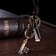Adjustable Men's Zinc Alloy Pendant and Leather Cord Lariat NecklacesNJEW-BB15995-B-6