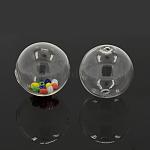 Handmade Blown Glass Globe Beads, Round, Clear, 30mm, Hole: 2mm
