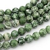 Perles en pierres gemme, tache verte jasper, ronde, environ 10 mm de diamètre, Trou: 1mm, Environ 39 pcs/chapelet, 15.5