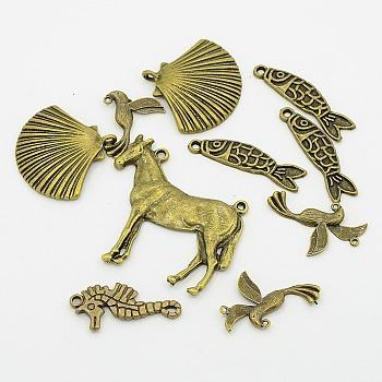 Подвески из сплава в тибетском стиле, в форме животных , античная бронза, 31~60x31~60x3~4 мм, отверстие : 1~2 мм