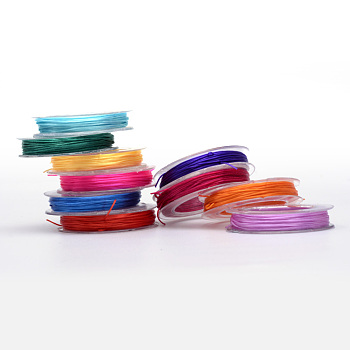 Flat Elastic Crystal String, Elastic Beading Thread, for Stretch Bracelet Making, Mixed Color, 0.5mm; about 10m/roll, 10rolls/group