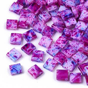 2 agujero abalorios de la semilla de cristal, pintado con spray opaco, Rectángulo, rojo violeta medio, 5x4.5~5x2~2.5mm, agujero: 0.5~0.8 mm