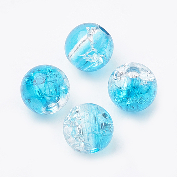 DeepSkyBlue Acrylic Beads, Transparent Crackle Style, Round, DeepSkyBlue, 8x7mm, Hole: 2mm; about 1840pcs/500g