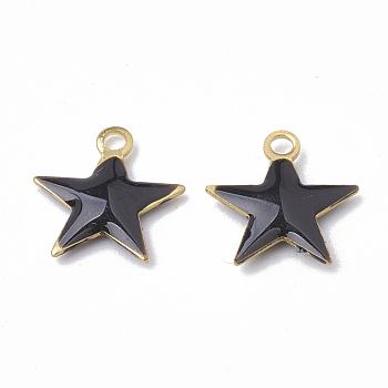 Charms in ottone, con paillettes smaltate, grezzo (non placcato), stella, nero, 10.5x10x1.5mm, Foro: 1 mm