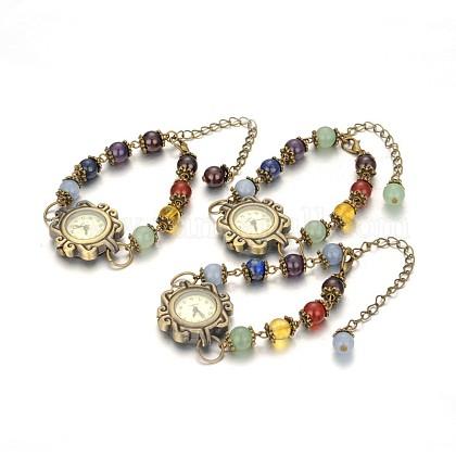 Tibetan Style Alloy Mixed Stone Watch BraceletsBJEW-JB01754-1