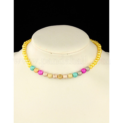 Collar de abalorios de imitación de acrílico de moda para los niñosNJEW-JN00425-05-1