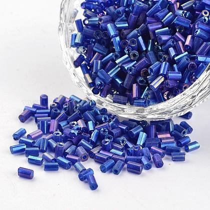 8/0 orificio redondo de colores transparentes chapado en arco iris dos cuentas de semillas de vidrio talladoSEED-I009-168-1