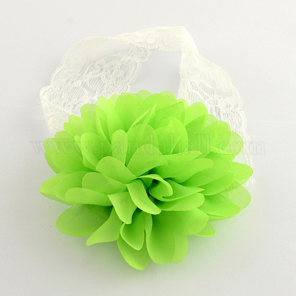 Cordón del bebé accesorios para el cabello cintas para el pelo elástico lindo con la flor del pañoX-OHAR-Q002-09F-1