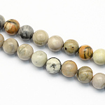 Natural Picasso Stone/Picasso Jasper Beads Strands, Round, 6.5mm, Hole: 1mm; about 63pcs/strand, 15.5