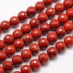 天然石レッドジャスパービーズ連売り, 多面カット, ラウンド, ファイヤーブリック, 6mm, 穴:1mm、約63個/連, 15.55