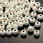 Tibetan Style Alloy Spacer Beads, Rondelle, Lead Free & Cadmium Free, Silver Color Plated, about 7mm in diameter, 5mm long, hole: 1mm