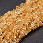 Natural Citrine Chip Beads Strands, 5~14x4~10mm, Hole: 1mm; about 15.5