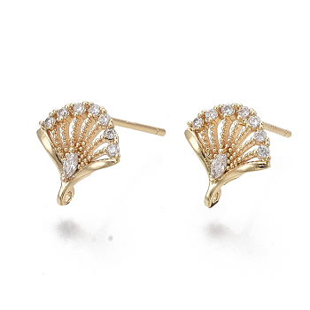 Brass Micro Pave Clear Cubic Zirconia Stud Earring Findings, with 925 Sterling Silver Pins and Loop, Real 18K Gold Plated, Nickel Free, Fan, 11x10mm, Hole: 0.9mm, Pin: 1mm