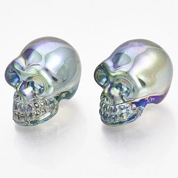 Гальваника k9 стеклянный дисплей украшения, череп, для Хэллоуина, голубой, 21.5x18.5x27 мм