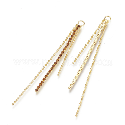 #E-100,E-101 Brass With Gold Plated 14K HeartDragonfly Dapped Bar Chain Tassel wCz Stone Drop Charm Links E-Coated Findings Wholesale GP