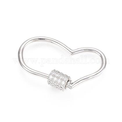 Brass Micro Pave Clear Cubic Zirconia Screw Carabiner Lock CharmsZIRC-L085-05P-1
