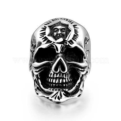 Punk Rock Style 316L Stainless Steel Skull Finger Rings for MenRJEW-BB01216-10AS-1