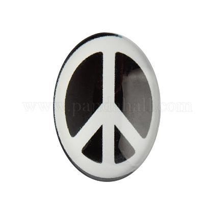 Знак мира тема украшения украшения стекла овальной Flatback кабошонX-GGLA-A003-30x40-JJ15-1