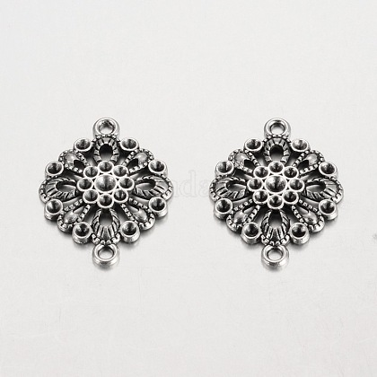 Filigree Flat Round Tibetan Style Alloy Connector Rhinestone Settings PALLOY-K113-02AS-RS-1