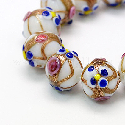Handmade Gold Sand Lampwork Beads StrandsLAMP-G046-18x16mm-7-1