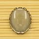 Anciennes supports laiton bronze pour cabochon et cabochons en verre ovales claires et transparentes pour la fabrication de bijoux bricolageKK-MSMC015-14-2