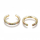 Brass Micro Pave Cubic Zirconia(Random Mixed Color) Cuff Earrings EJEW-S201-55-2