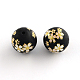 Perles en verre avec image de fleur, avec du métal d'or enlacés, noir, 14x13mm, Trou: 1.5mm