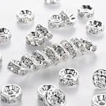 200 pcs claras blanco rhinestone del rondelle entrepieza de abalorios, 8mm