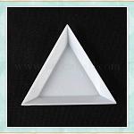 Triángulo de plástico nail art rhinestone bandejas de clasificación diy calcomanías, 3d manicure uv gel polaco accesorio de diy, rosa, blanco, 7.3x5x1.1 cm