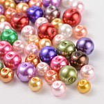 Glass Pearl Round Beads, Mixed Style, Mixed Color, 6~8mm, Hole: 1mm