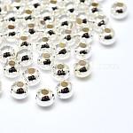 Окружающей среды латунь круглых бусин, без свинца, без кадмии и без никеля, серебристый цвет, 4 мм, отверстие : 1.8 мм