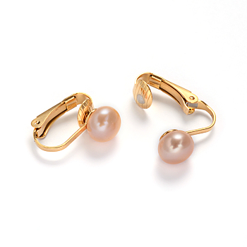 PeachPuff Golden Tone 304 Stainless Steel Freshwater Pearl Clip-on Earrings, PeachPuff, 16x4x16mm