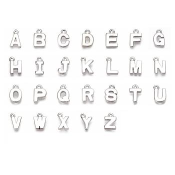 Латунь подвески, алфавит, Реальная платина, Письмо ~ Z, 8~8.5x4~6x1.5 мм, отверстие : 0.8 мм