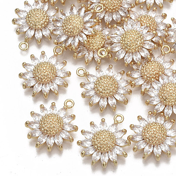 Brass Micro Pave Cubic Zirconia Pendants, Nickel Free, Daisy, Clear, Real 18K Gold Plated, 21x17x5.5mm, Hole: 1.6mm
