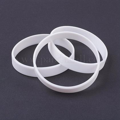 Silicone Wristbands Bracelets, Cord Bracelets, White, 2-1/2inches(63mm); 12x2mm BJEW-J176-20
