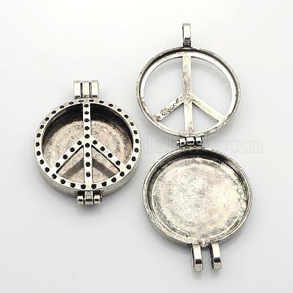 Hueca signo de la paz plana foto reronda marcos colgantes medallón difusor de aleaciónPALLOY-J413-21AS-NF-1