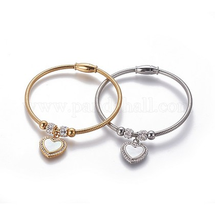 304 Stainless Steel Charms BanglesBJEW-P258-05-1