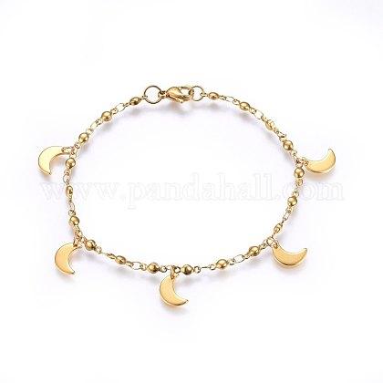 304 pulseras del encanto del acero inoxidableBJEW-H579-26G-1