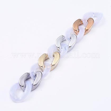 Imitación de piedras preciosas estilo hecho a mano acrílico bordillo cadenasAJEW-JB00536-01-1